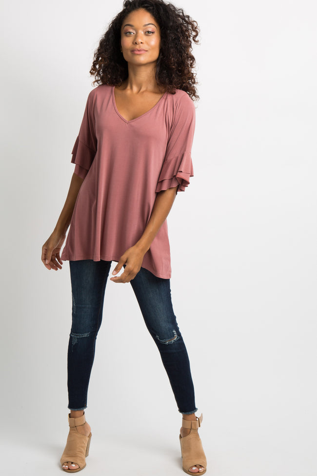 Mauve Layered Sleeve V-Neck Top