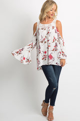 White Floral Lace-Up Cold Shoulder Top
