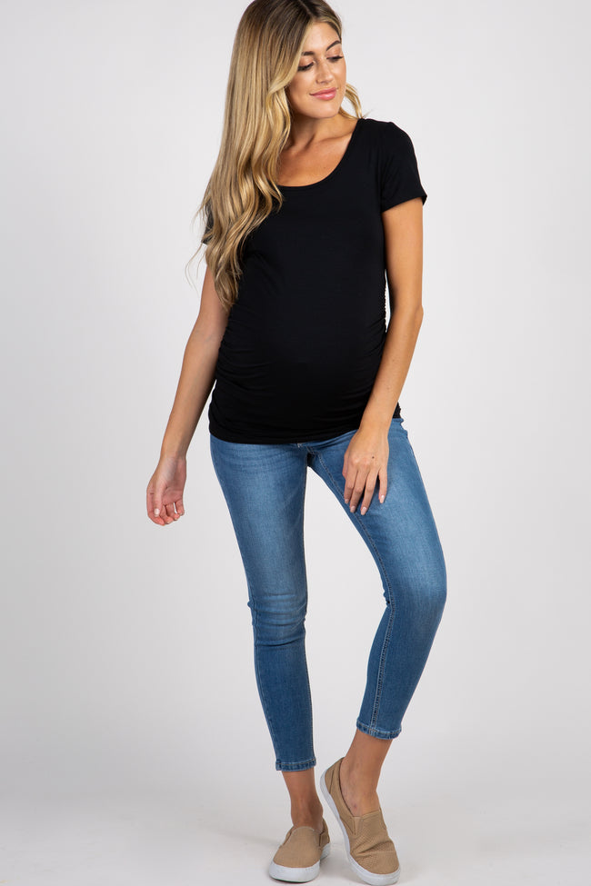 Blue Faded Wash Maternity Skinny Jeans