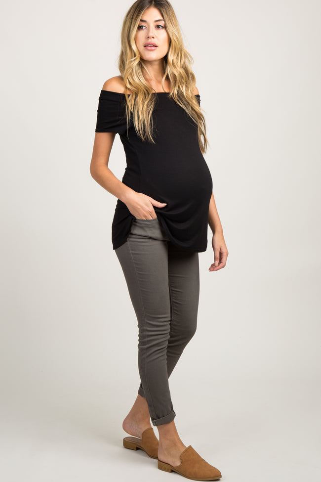 Olive Solid Cuffed Skinny Maternity Pants