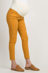 Mustard Distressed Cropped Maternity Skinny Jeans