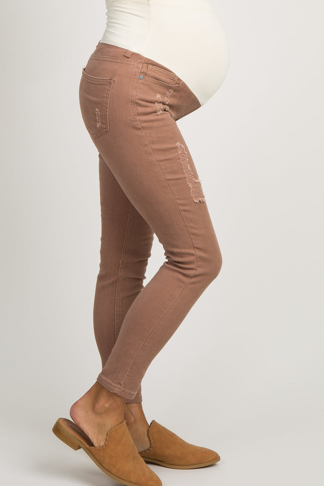 Mocha Distressed Cropped Maternity Skinny Jeans