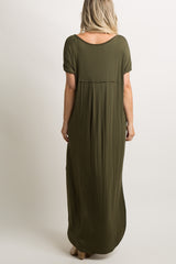 Green Short Sleeve Maxi Dress