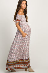 Multi-Color Paisley Print Smocked Off Shoulder Maternity Maxi Dress