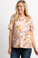 Light Pink Floral Ruffle Sleeve Maternity Top
