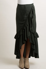Olive Tie Accent Ruffle Trim Maternity Wrap Skirt