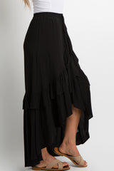 Black Tie Accent Ruffle Trim Wrap Skirt