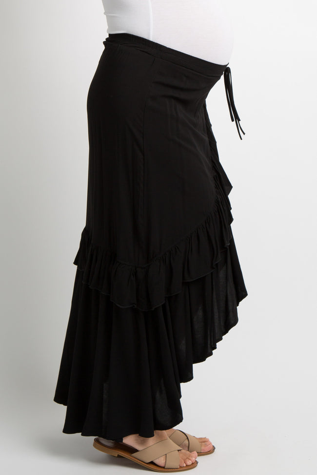 Black Tie Accent Ruffle Trim Maternity Wrap Skirt