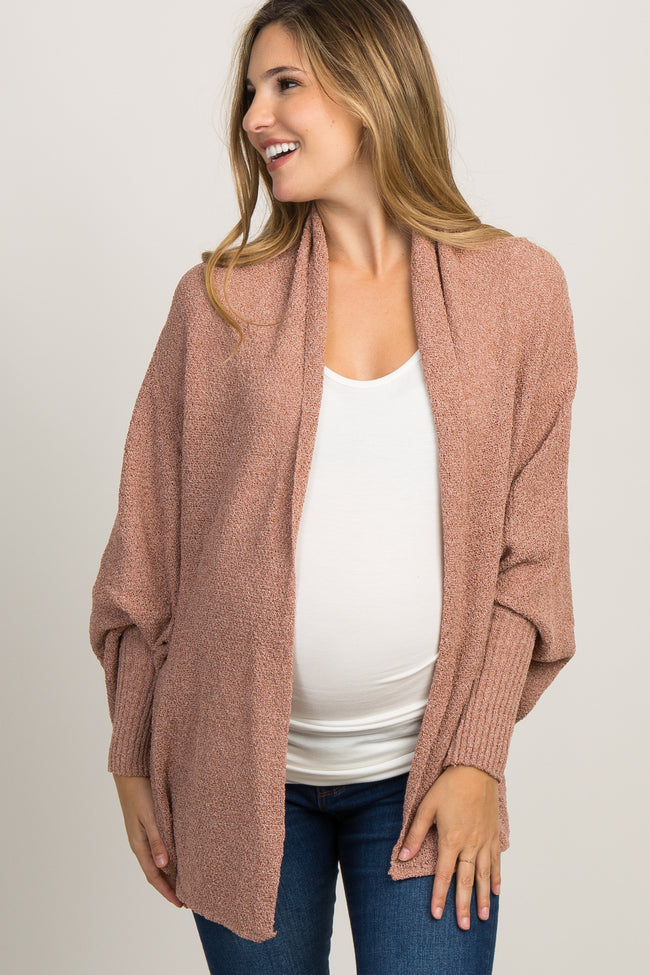Rust Linen Knit Dolman Sleeve Maternity Cardigan