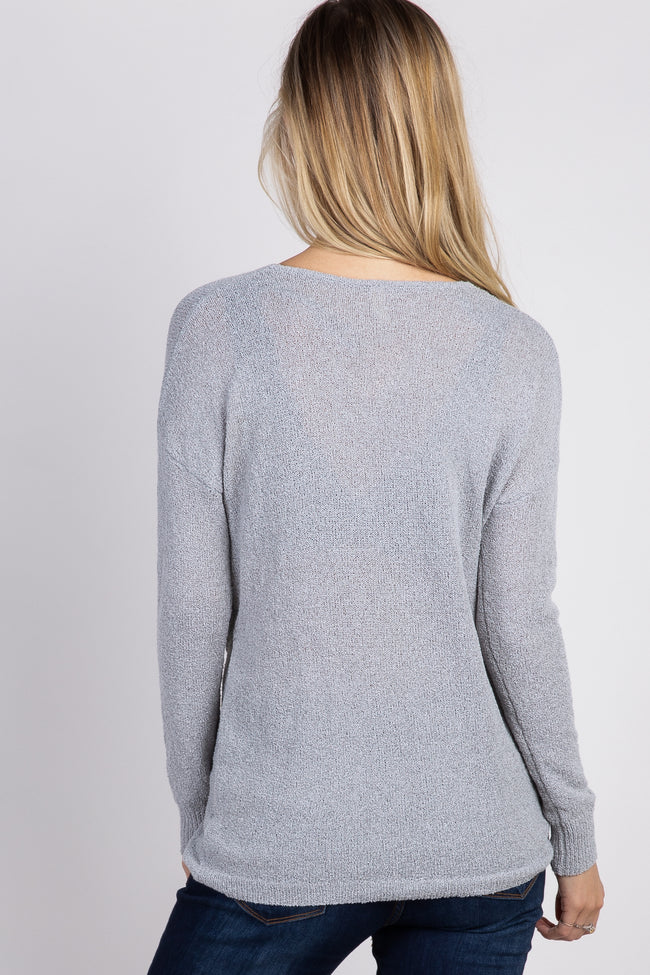 Heather Grey Linen Knit Cross Wrap Top