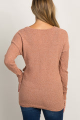 Rust Linen Knit Cross Wrap Maternity Top