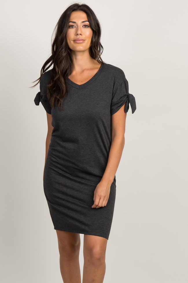 Charcoal Faded Sleeve Tie Shift Dress