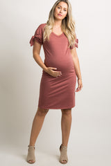 Red Faded Sleeve Tie Maternity Shift Dress