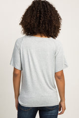 "Heather Grey ""Mama"" Graphic Maternity Top"