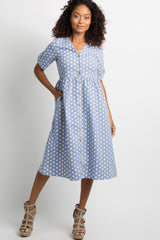 Blue Polka Dot Button Front Midi Dress