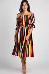 Multi Color Striped Off The Shoulder Midi Dress