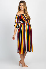 Multi Color Striped Off The Shoulder Maternity Midi Dress