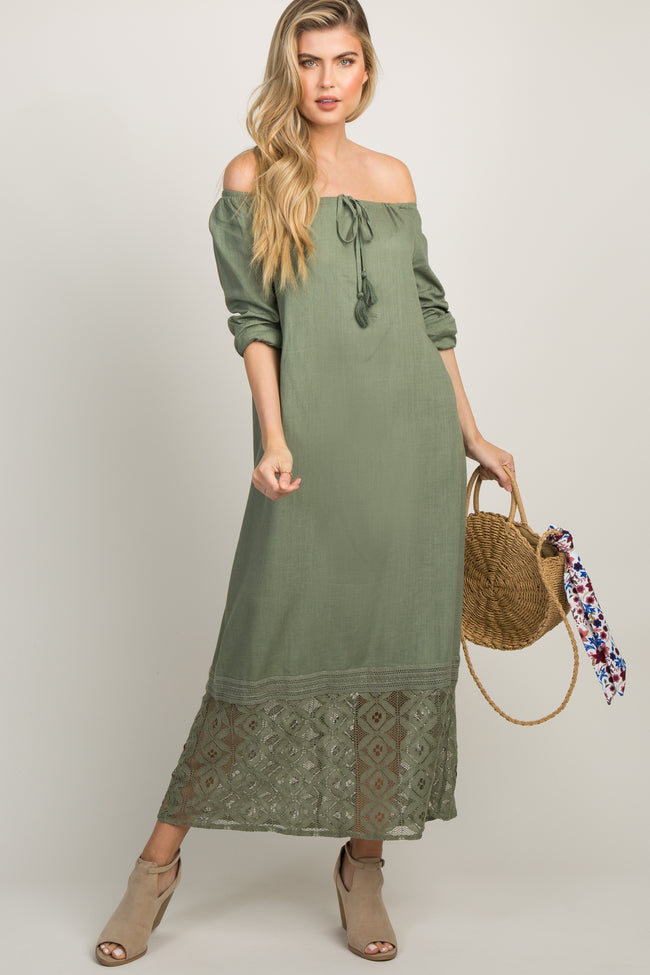 Olive Off Shoulder Tassel Tie Crochet Accent Maternity Maxi Dress