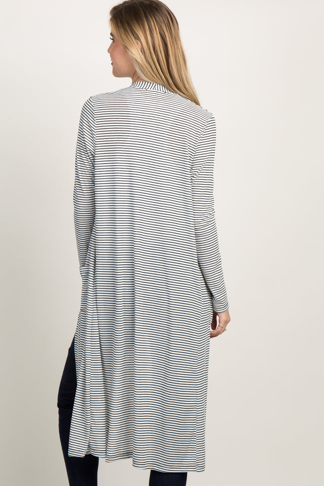 Ivory Striped Long Sleeve Duster Cardigan