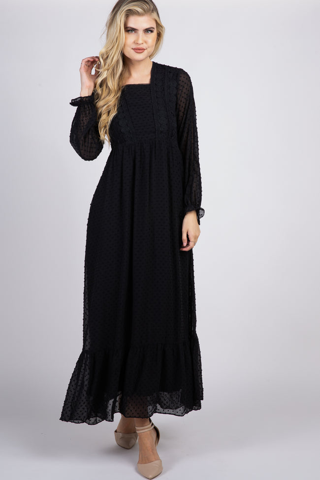 Black Swiss Dot Crochet Accent Chiffon Maxi Dress