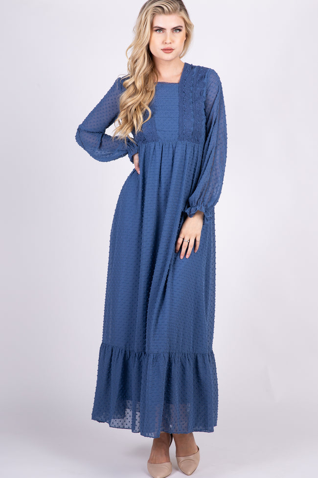 Blue Swiss Dot Crochet Accent Chiffon Maxi Dress