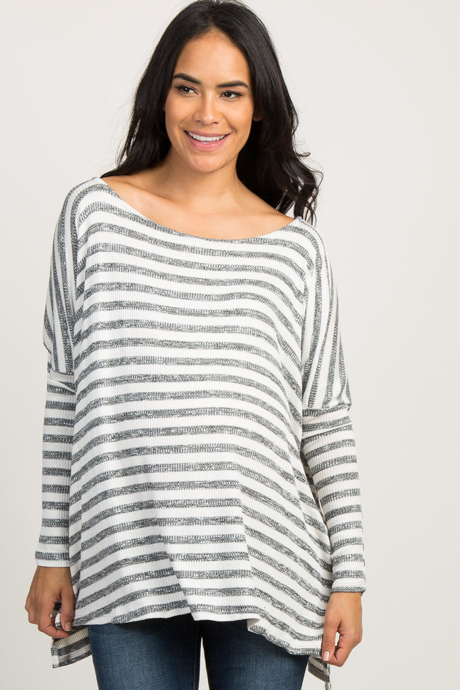 Ivory Striped Ribbed Knit Dolman Sleeve Maternity Top
