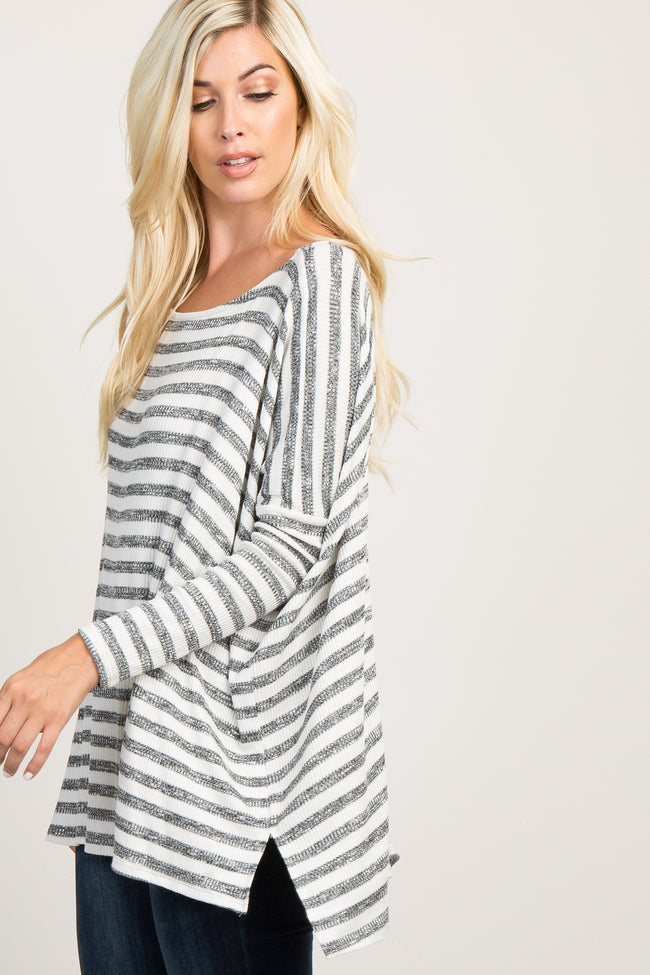 Ivory Striped Ribbed Knit Dolman Sleeve Top