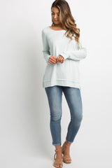 Mint Raw Cut Long Sleeve Top