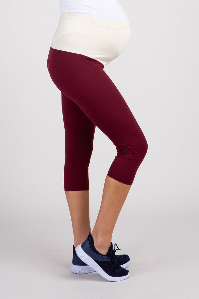 PinkBlush Burgundy Cropped Active Maternity Leggings