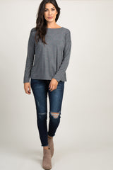 Charcoal Grey Faded Polka Dot Crisscross Top