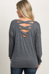 Charcoal Grey Faded Polka Dot Crisscross Maternity Top