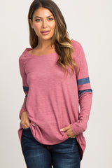 Heather Red Color Block Long Sleeve Top