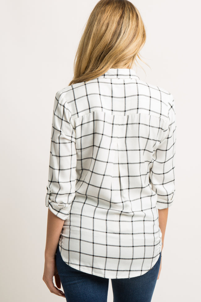 White Grid Print Button Front Maternity Top