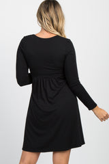 PinkBlush Black Draped Long Sleeve Maternity/Nursing Dress