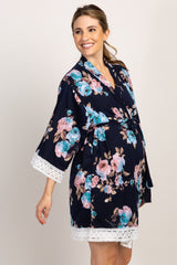 Navy Floral Lace Trim Delivery/Nursing Maternity Robe