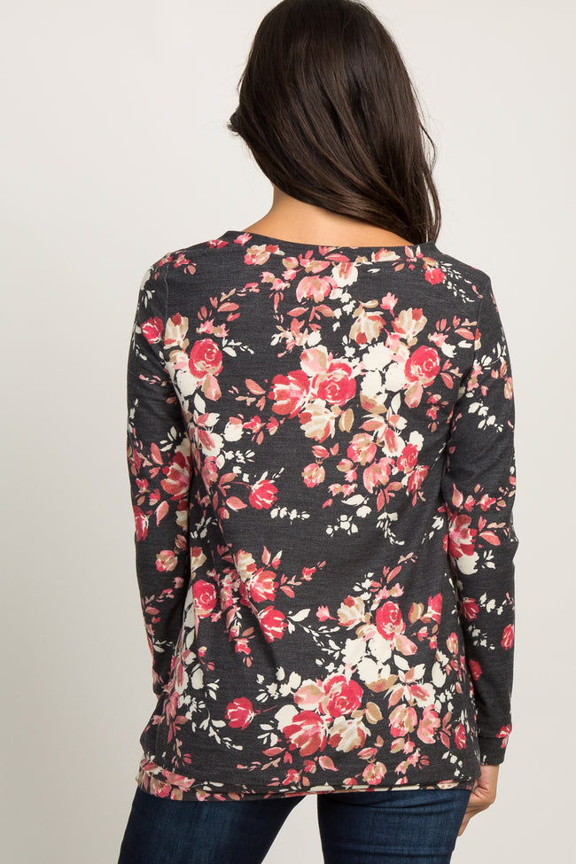 Charcoal Floral Knit Sweater