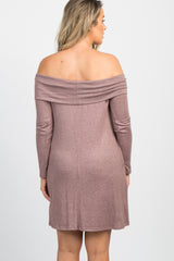 Mauve Soft Knit Foldover Off Shoulder Maternity Dress
