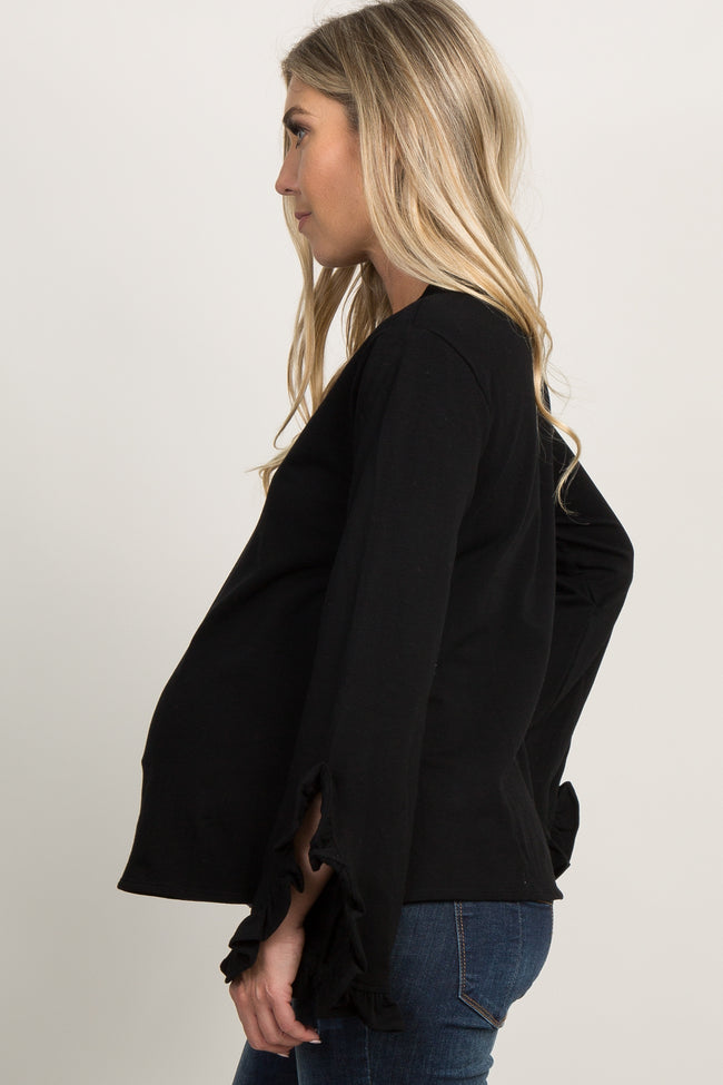 Black Ruffle Trim Bell Sleeve Maternity Top