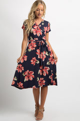 Navy Floral Sash Tie Wrap Dress