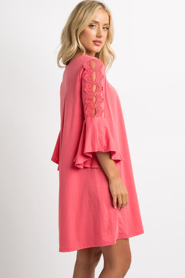 Coral Crochet Accent Bell Sleeve Shift Dress