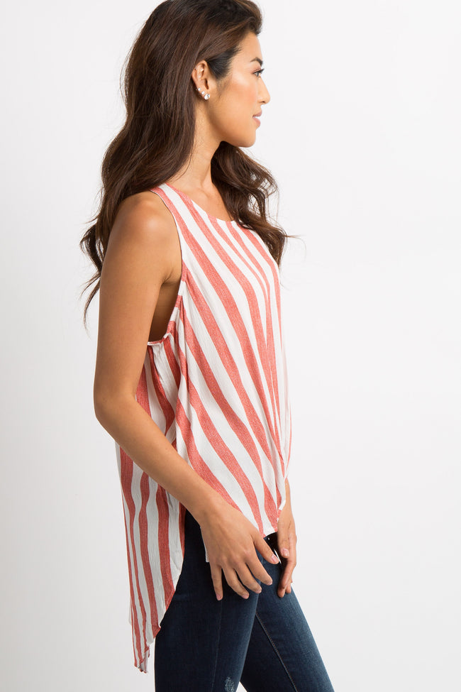Red Striped Draped Hi-Low Top