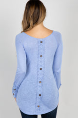 Light Blue Crochet Button Accent Maternity Top