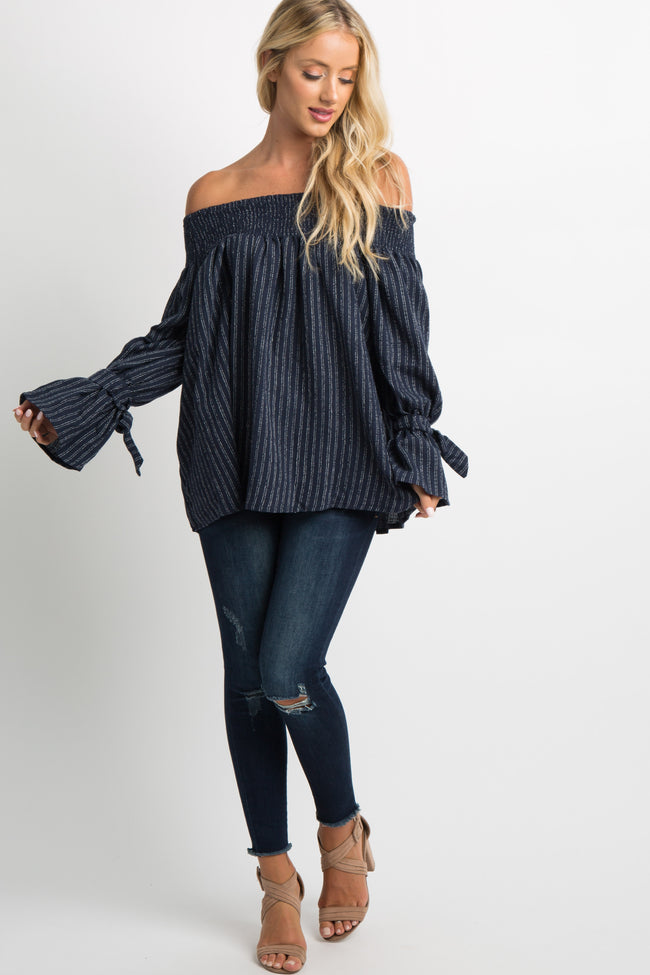 Navy Blue Striped Off Shoulder Sleeve Tie Top