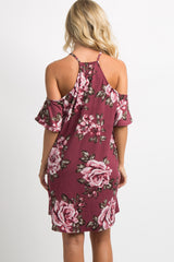 Mauve Floral Cold Shoulder Dress