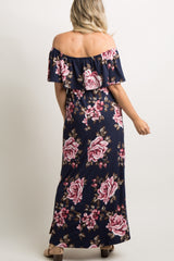 Navy Blue Floral Off Shoulder Ruffle Slit Maternity Maxi Dress