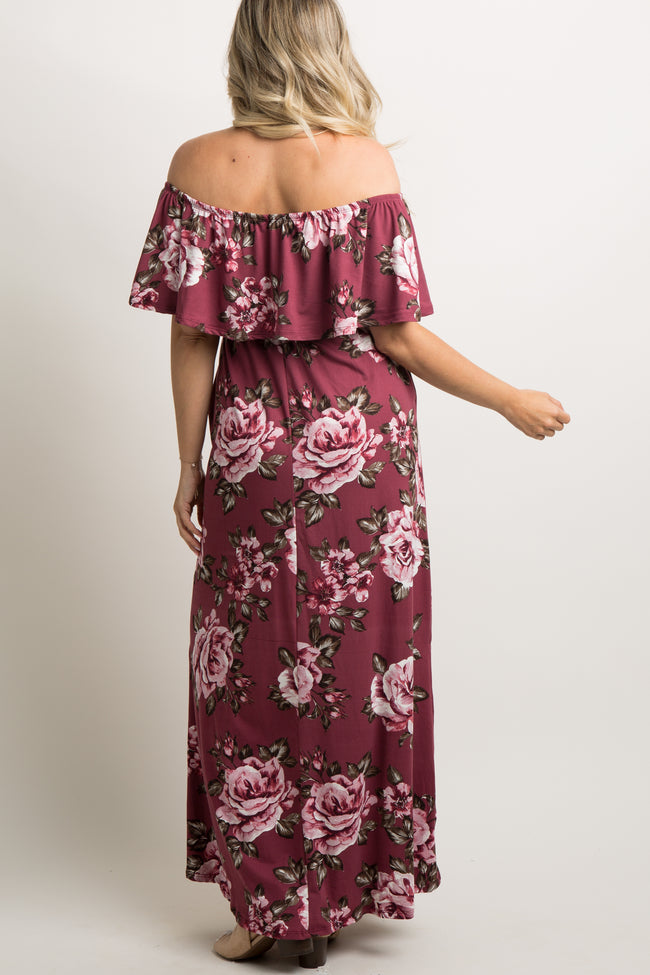 Mauve Floral Off Shoulder Ruffle Maternity Maxi Dress