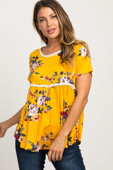 Yellow Floral Print Crochet Peplum Maternity Top