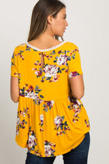 Yellow Floral Print Crochet Peplum Top