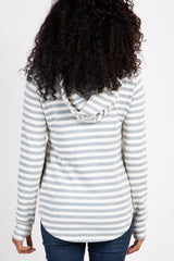Grey Striped Terry Layered Hooded Top