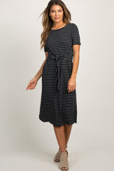 Black Striped Tie Front Midi Dress